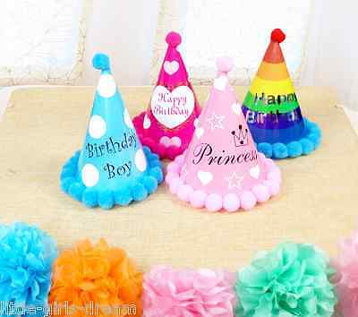 Blue Paper Cone Hats Dress Up Girls Boys My First Birthday Party Pink Rainbow