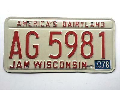 Wisconsin 1978 on 1973 Base Vintage License Plate Garage 1970s Old Car Auto Tag