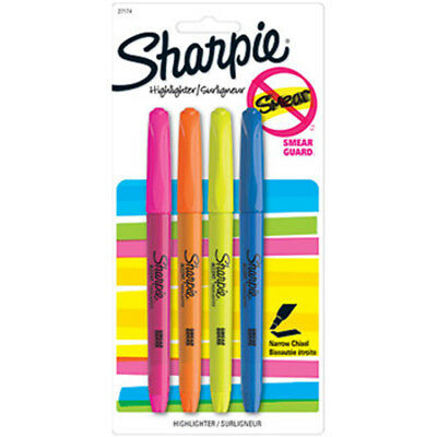 NEW Sharpie Accent Highlighters 4 Assorted Colors Per Pack