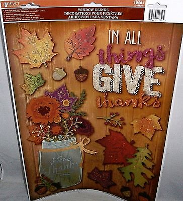 FALL/THANKSGIVING  Window Clings   IN ALL THINGS GIVE THANKS