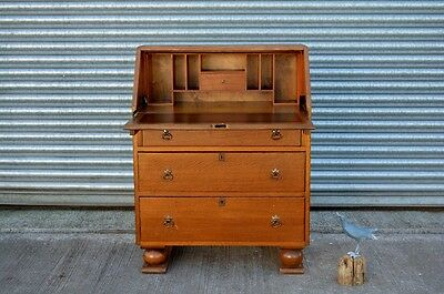 Art Deco Bureau Oak And Veneer Writing Desk.