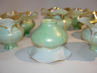 Antique Steuben Pulled Feather 6 Shade Set Iridescent Green Gold Pink Signed