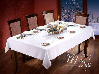 Christmas Tablecloth White Xmas candle Red Pattern Oblong Rectangle