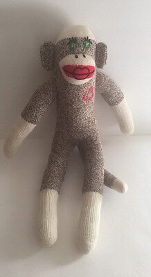"Handmade Sock Monkey Red Heel Green Eyes Brown Beige Plush Toy 19"" Free Ship"
