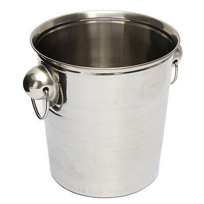 2X(Silver Stainless Steel Ice Punch Bucket Wine Beer Cooler Champagne Party DW