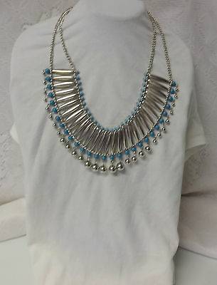 Vintage Massive Chunky Runway Art Deco Revival Egyptian Faux Turquoise Necklace