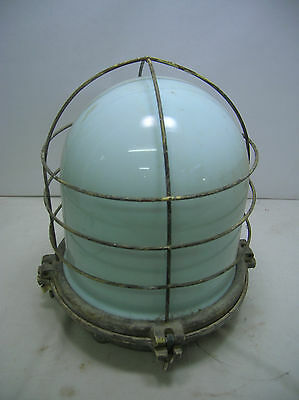 Vintage Electric Ship's Light  Lamp White/Green Glass Japanese  #11