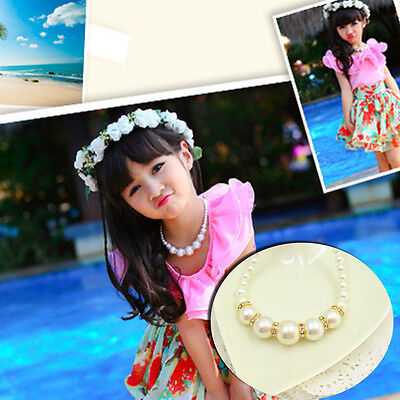 Lovely Fashion Girls Children Princess Imitation Pearl Necklace Jewelry Gift New