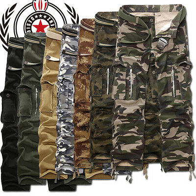 UK Men's Casual Army Cargo Camo Combat Military Trousers Camouflage Pocket Pants