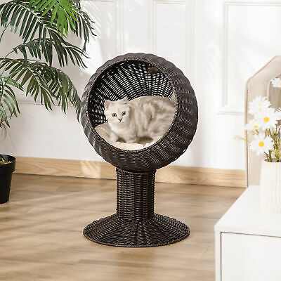 """28"""" Rattan Wicker Elevated Pet Bed Cat Cave Condo Hooded Cushion Scratch House"""