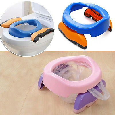 Foldable Portable Travel Potty Chair Toilet Seat For Baby Kids Plastic Seat EW