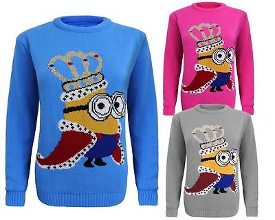 Kids Unisex Knitted King Crown Minion Christmas Xmas Novelty Jumper Sweater Top