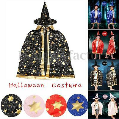 Childrens Boy Girl Halloween Costume Wizard Witch Cloak Cape Robe +Hat Set Dress