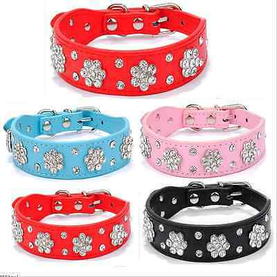 Rhinestone Flower PU Leather Dog Cat Collar Bling Crystal Necklace for Pet Puppy