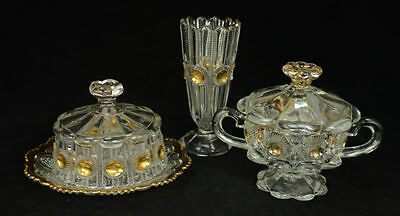3 pc EAPG US Glass Co Gold Bulls Eye and Daisy Vase, Sugar Bowl, Candy Dish L8Y