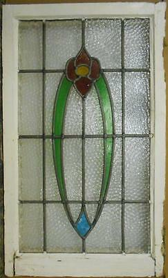 "LARGE OLD ENGLISH LEADED STAINED GLASS WINDOW Abstract Floral 19.5"" x 32.75"""