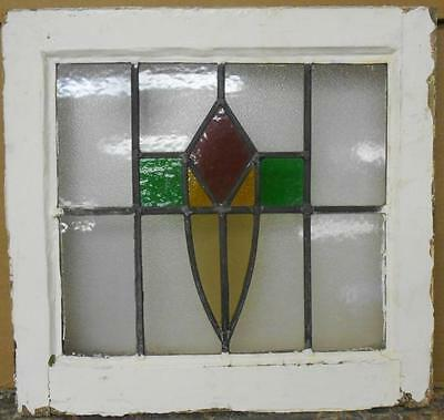 """OLD ENGLISH LEADED STAINED GLASS WINDOW Nice Abstract 18"""" x 16.75"""""""