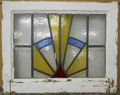 "OLD ENGLISH LEADED STAINED GLASS WINDOW Golden Rays 21"" x 16.75"""