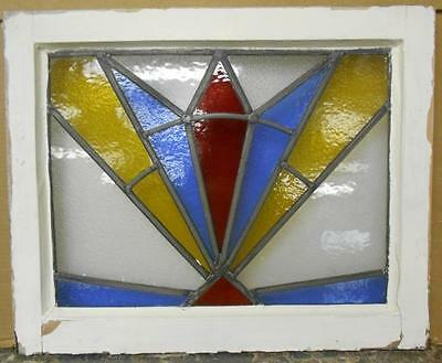 "MID SIZED OLD ENGLISH LEADED STAINED GLASS WINDOW Colorful Burst 22"" x 17.75"""