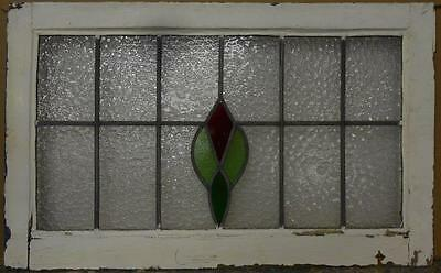 "LARGE OLD ENGLISH LEADED STAINED GLASS WINDOW Simple Floral 32.75"" x 20"""