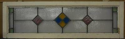"OLD ENGLISH LEADED STAINED GLASS WINDOW TRANSOM Nice Geometric 45.5"" x 14"""