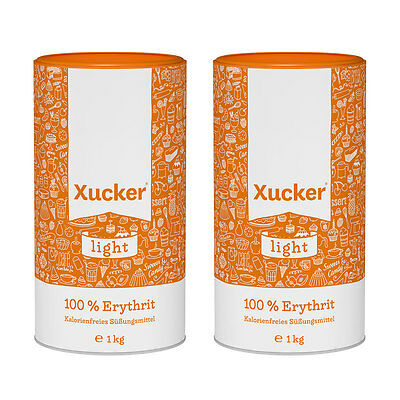 (€11.44/1Kg) Xucker Light Erythrit, 2er Pack, 2x 1kg - 2x 1000g, Zuckerersatz