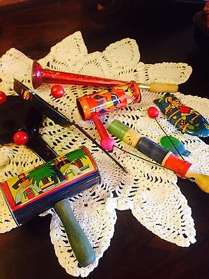 Vintage Toy Noisemakers Tin Litho Clicker Horn Clappers New Years Eve Holidays