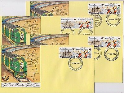 Stamps Australia on set of 23 souvenir covers Jubilee Trade Train TPO postmarks