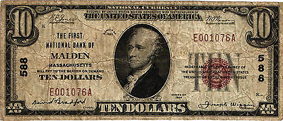 1929 TY 1 $10.00 National Currency - CH# 588 - First National Bank of Malden, MA