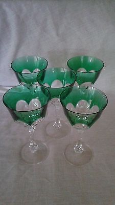 Antique Lot Of 5 Green Moser / Bohemian Stems