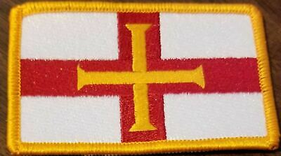 Guernsey Flag Embroidered Iron-On Patch Channel Islands Emblem Gold Border