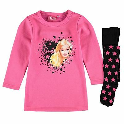 New  Official Barbie dress & Tights set  black  white pink 9-10 years Girls