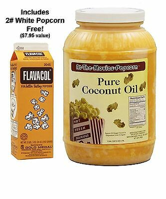 Coconut Popcorn Popping Oil (Gallon) & Flavocol Combo (Yellow Coconut Oil)