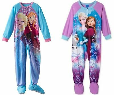 DISNEY FROZEN Girls One-Piece Footed Pajamas Anna Elsa Olaf 2 2T 3T 4 4T NWT $44