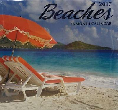 2017 Beaches Wall Calendar 16 Month New Sealed Full Sized
