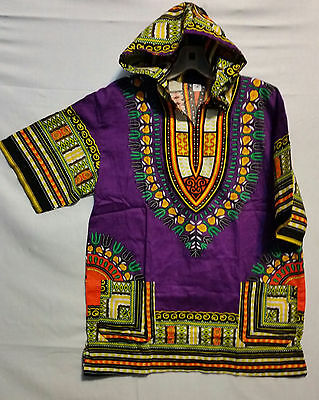 Men's Afrrican Dashiki Top with hood Women's Hoodie Traditiona  S M L XL Purple