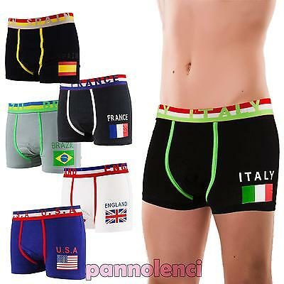Boxer man underpants FLAGS world cotton intimo shorts new 2327-MOD