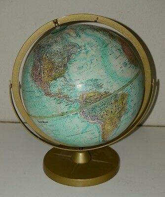 "REPLOGLE 12"" Globe World Ocean 16"" Tall Atomic Metal Stand Vintage Mid Century"