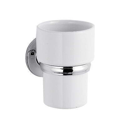 Chrome Bathroom Ceramic Tumbler Wall Mounted Toothbrush Cup Holder Accessory