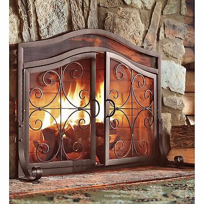 Decorative Fireplace Screen with Doors Copper Iron Classic Antique Design Panel