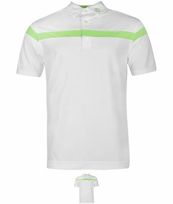 SALDI Footjoy Stripe Polo Shirt Mens White/Green