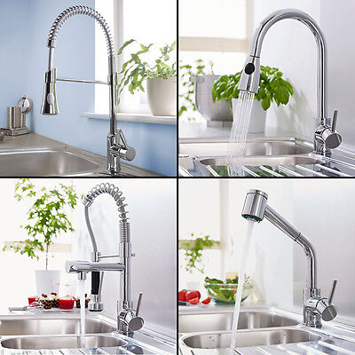 Kitchen Sink Mono Basin Mixer Tap Pull Out Spray Rinser Swivel Spout Solid Brass