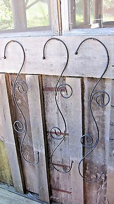 Three Vintage Cast Iron Plant Hangers Home & Garden Bracket Hooks 2 Feet Long!