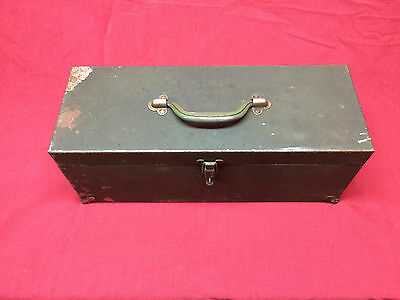 Vintage Kennedy Kits 19 inch Green Wrinkle Tool Box Hand Carry Box Empty W/ Tray