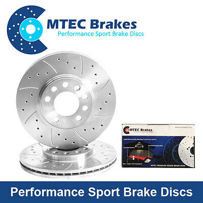 Focus mk2 ST 2.5 Front Drilled Grooved Brake Discs Plus MTEC PADS