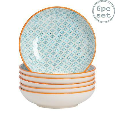 Large Pasta Bowls Dinner Set Patterned Porcelain Dining Bowl - Blue Orange x6