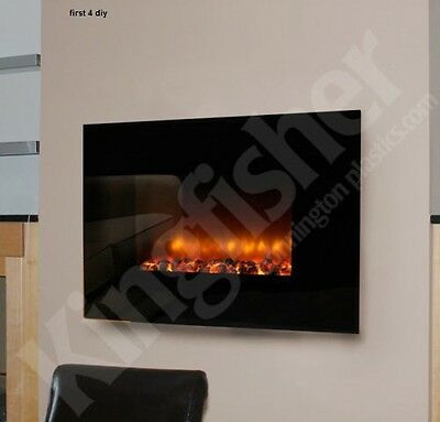1.8KW WALL MOUNTED GLASS ELECTRIC FIREPLACE 900/1800w FIRE HEATER REMOTE CONTROL