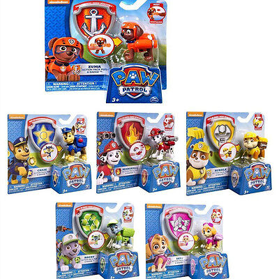 Cute Paw Patrol Figures Backpack Projectile + Badge Kids Boy Girl Toy Xmas Gift