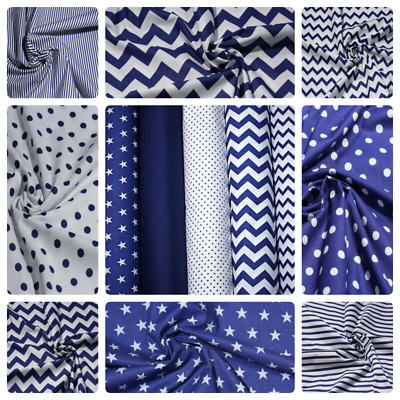 "100% Cotton Fabric Navy Blue Stars Chevron Dotts Polka Sheeting Plain 64"" Polka"