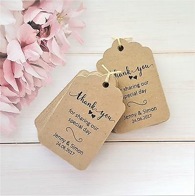 Personalised Wedding Favour Thank You Tags - Ivory Cream, White, Kraft